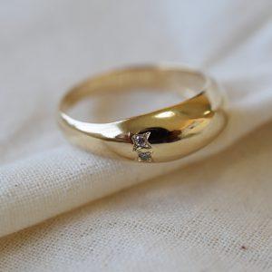 טבעת בועה זהב ויהלומים