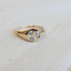 טבעת חותם זהב יהלומים